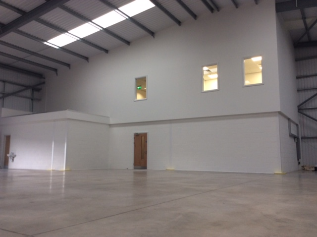 Elevation of the new office area from inside the warehouse unit